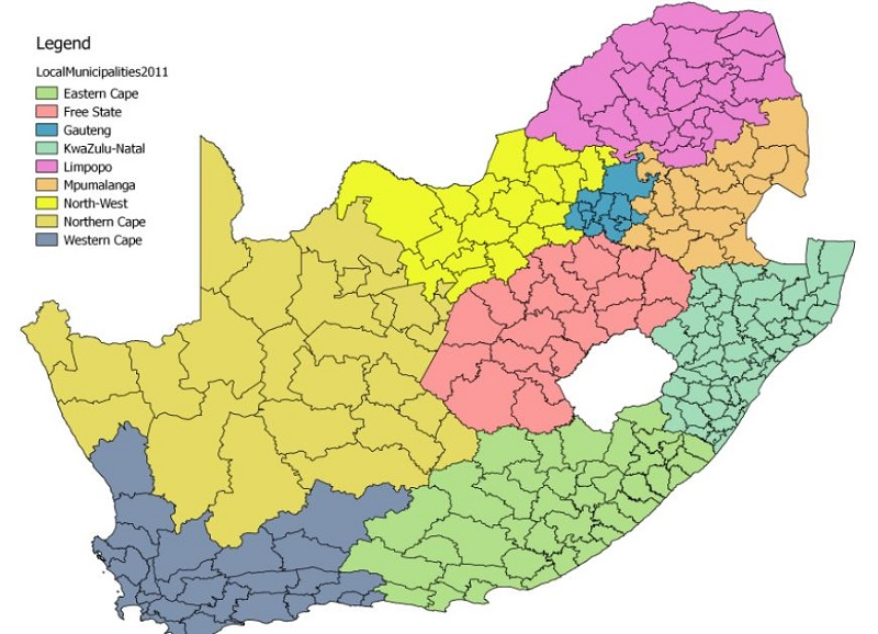 South African municipalities, grouped by province (Image: Paul Berkowitz  Research) | Brand South Africa