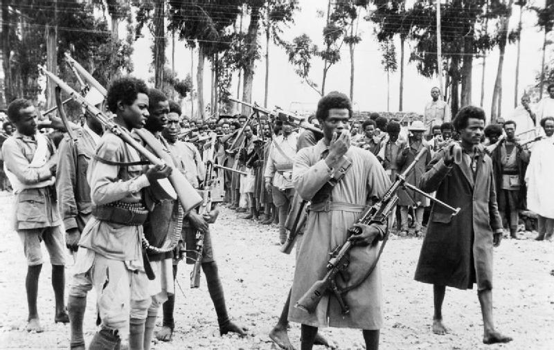 Ethiopian men gather in Addis Ababa