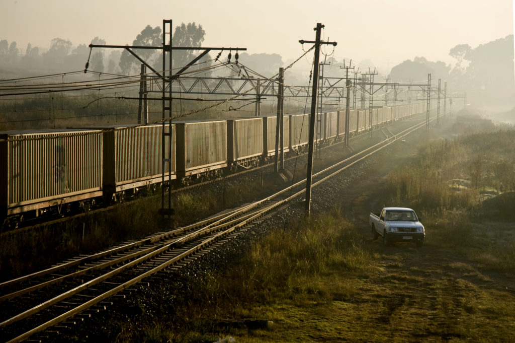 Johannesburg, Gauteng province: Early morning winter mist across freight containers
