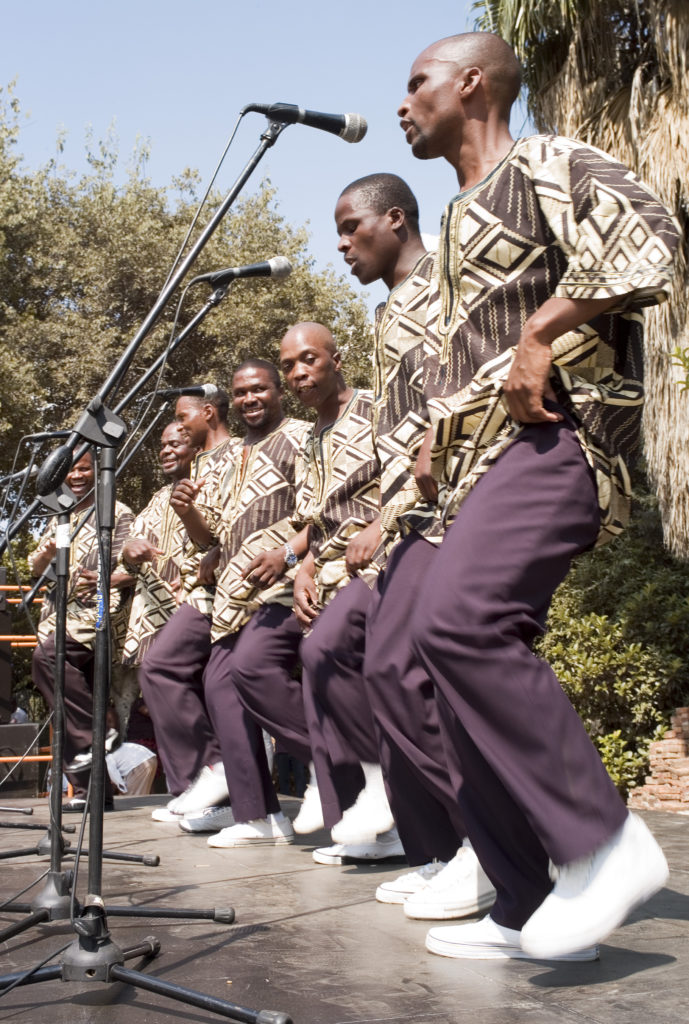 Dance group competing in a cultural dance festival in Joubert Park