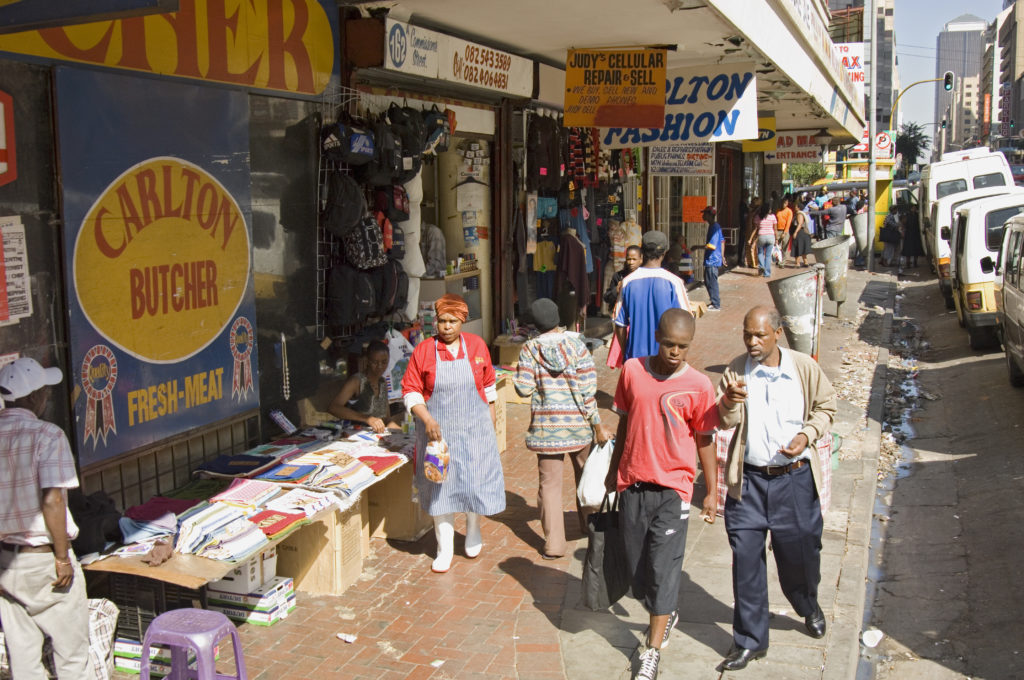 Informal traders in the city centre