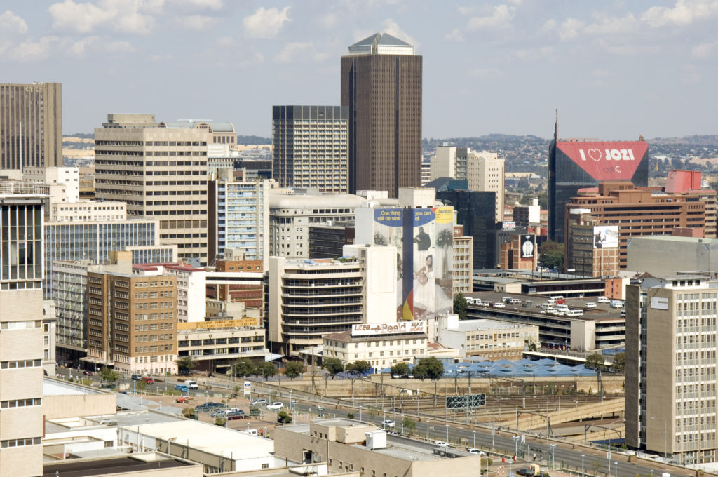 View into old financial district of Johannesburg.