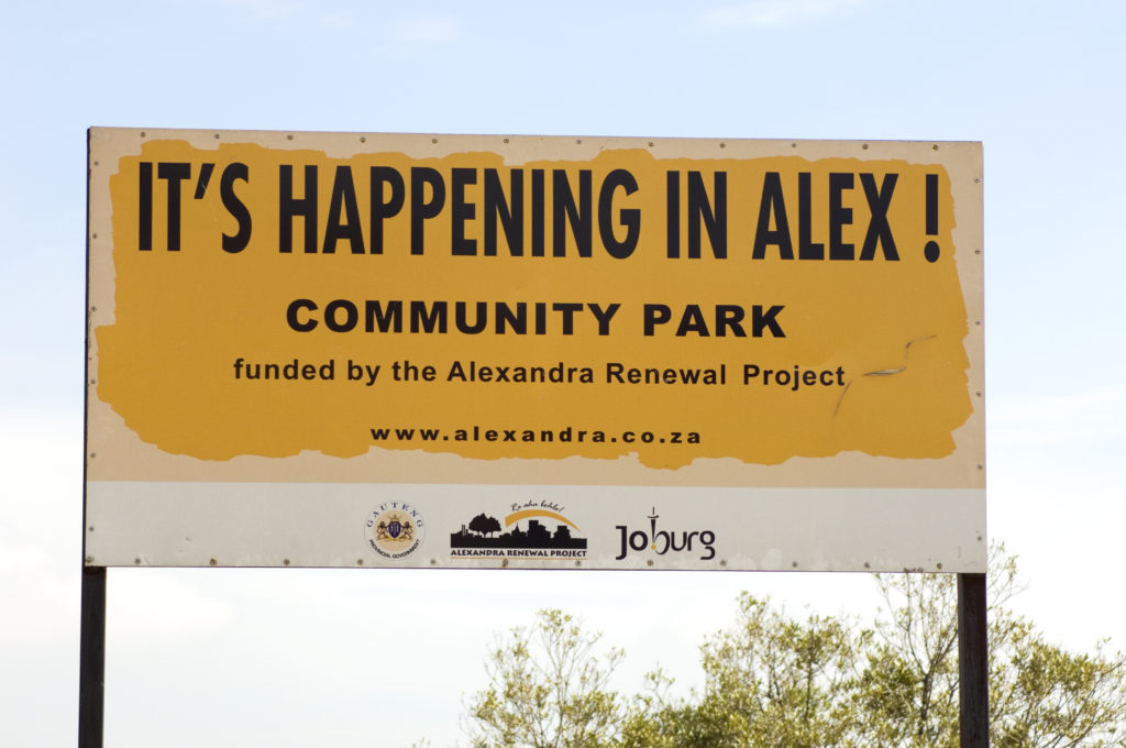 Billboard for community park - East bank Alexandra