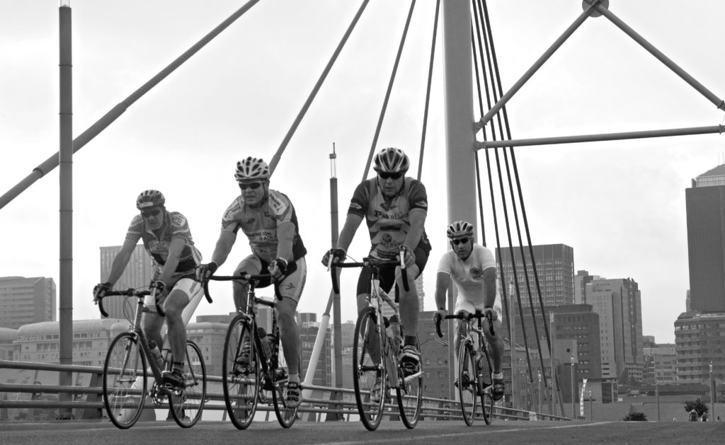 Cyclists crossing the Nelson Mandela Bridge in the city centre during a cycle race