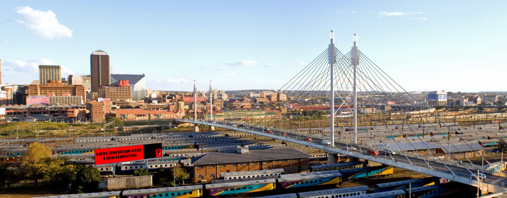 Mandela bridge linking Braamfontein and Newtown. Johannesburg.
