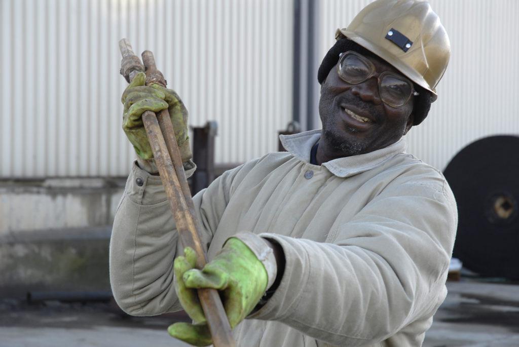 Store controller Mareka Mthokho checks underground equipment at Harmony Gold Mine