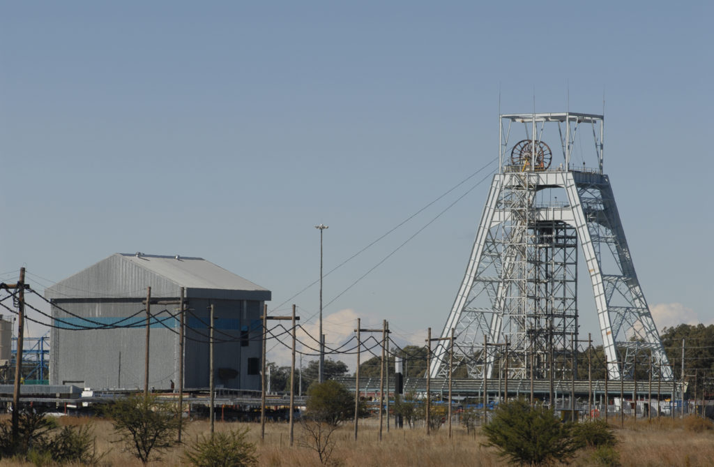 Welkom, Free State province: Phakisa shaft and headgear at Harmony Gold Mine