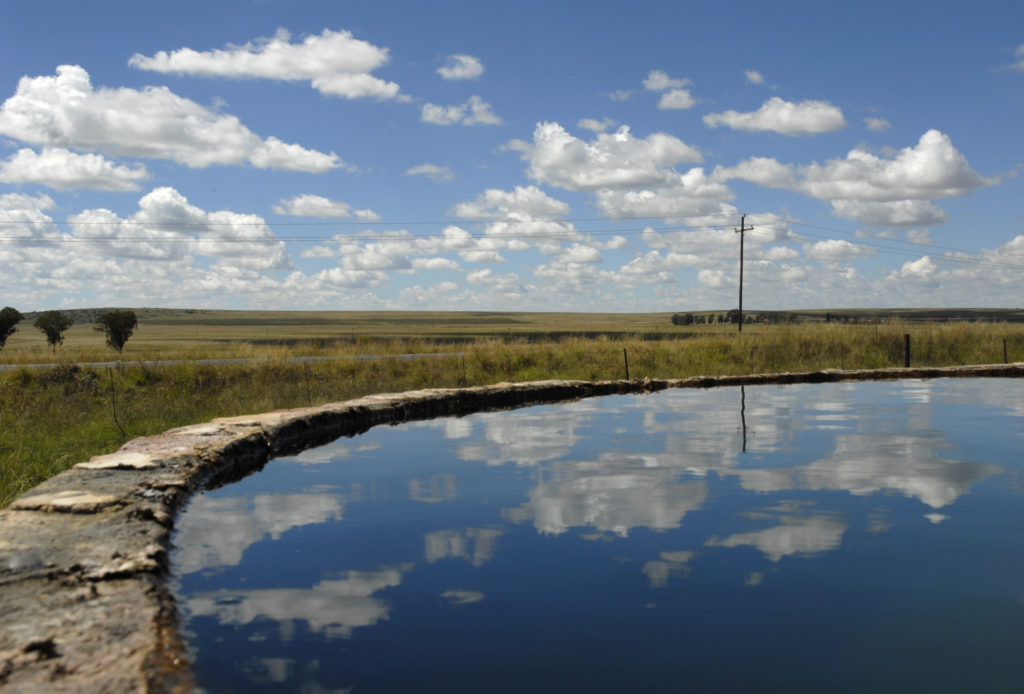 South Africa, Free State: A reservoir on a sheep farm