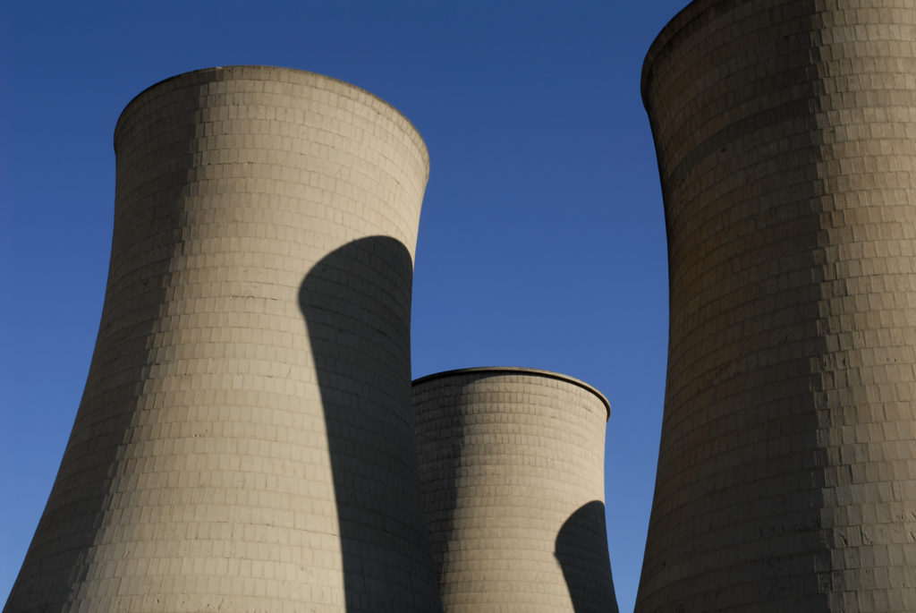 South Africa, Free State: Cooling towers in central Bloemfontein.