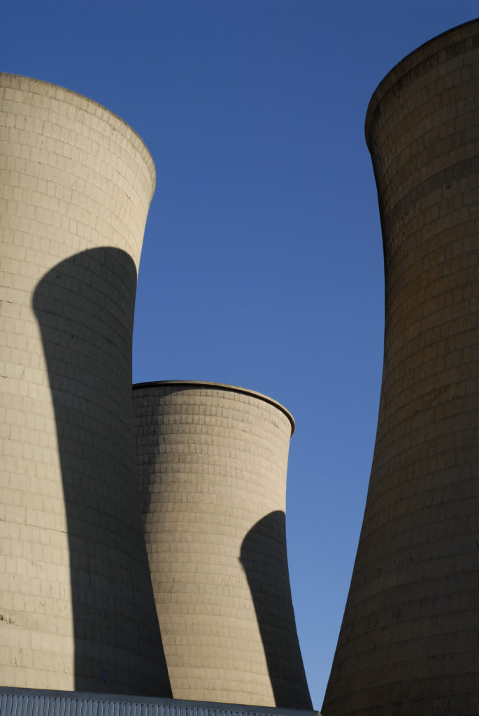 Cooling towers in the centre of the city
