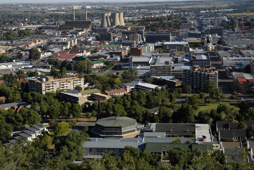 South Africa, Free State: A view of Bloemfontein from Naval Hill.