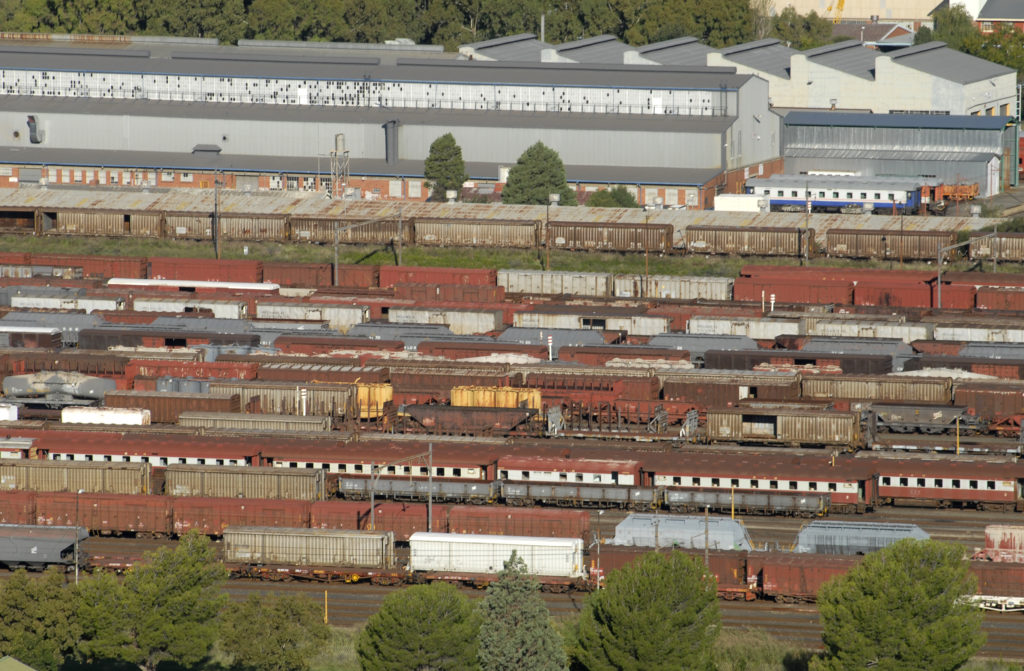 Free State: A view of the railway and industrial area of Bloemfontein.
