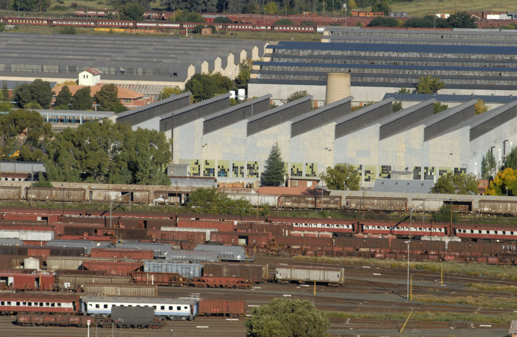 Bloemfontein, Free State: A view of the railway and industrial area of