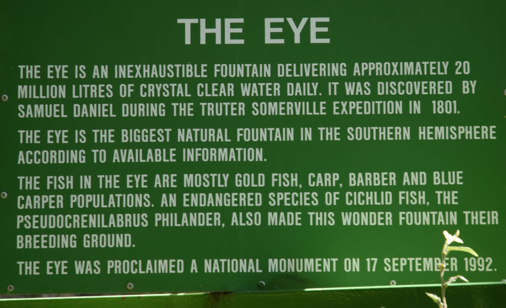 Northern Cape province: Sign at the Eye of Kuruman