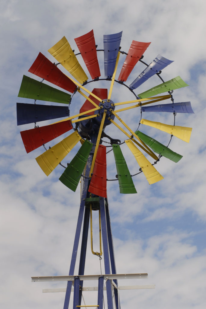 Northern Cape province: A colourfully painted old water pump