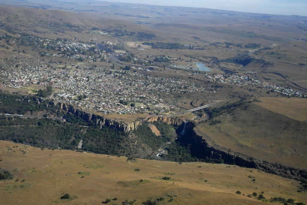 South Africa Mpumalanga: An aerial view of the town of Waterval-Boven