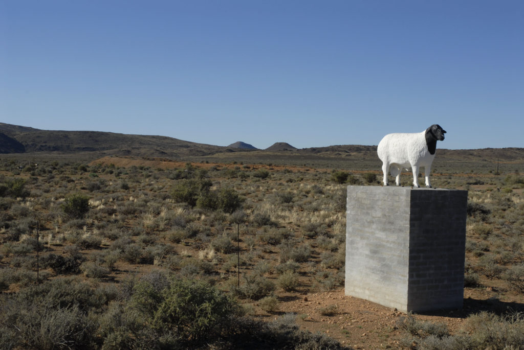 Northern Cape province: Statue of a Dorper sheep on a Karoo farm