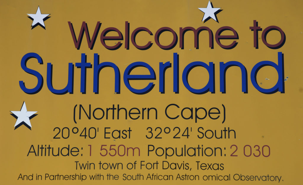 A sign at the entrance to town welcomes visitors to Sutherland