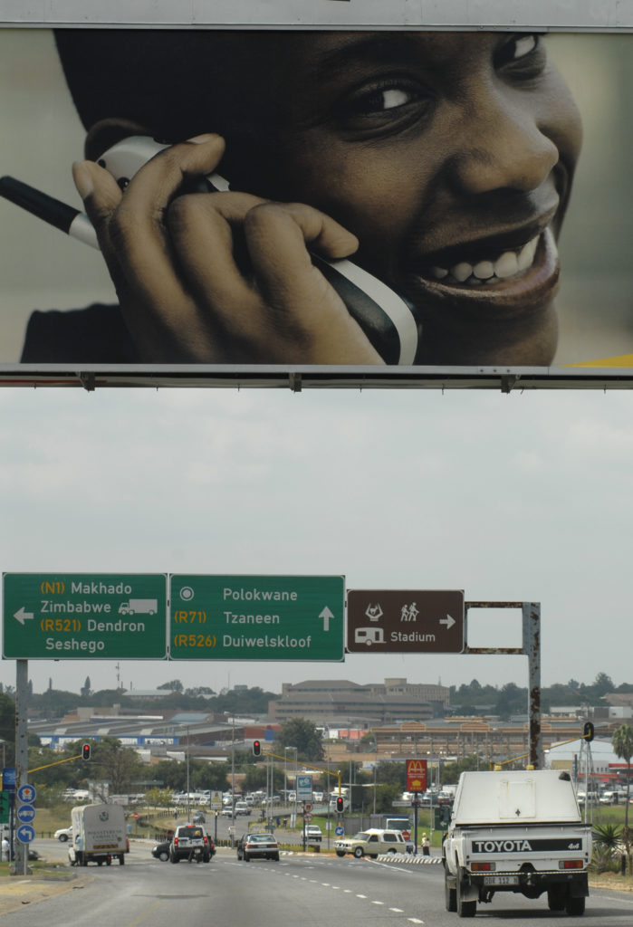 Polokwane, Limpopo province: A cellphone advertisement on a busy road
