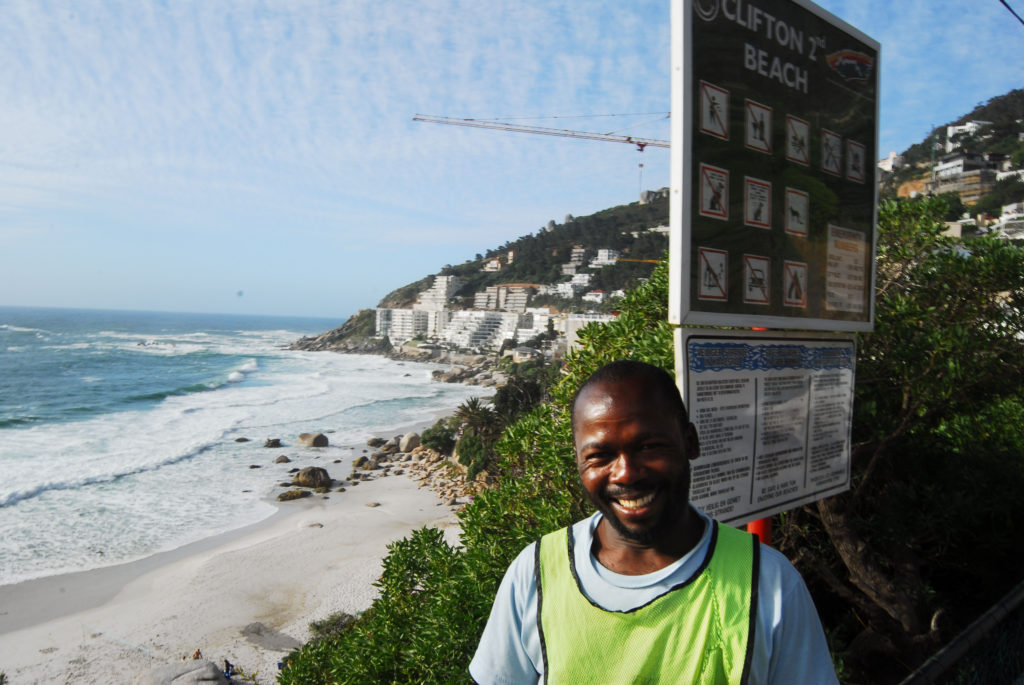 Coky Mziwandi, a car guard at Clifton Second Beach