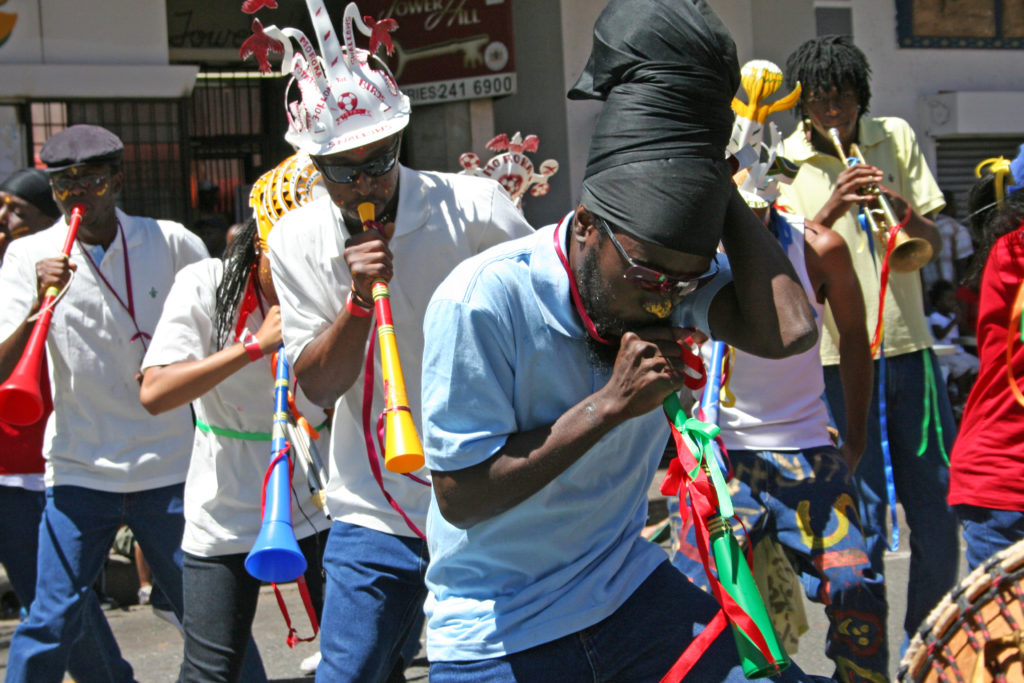 Revellers at the Johannesburg Carnival in the city centre