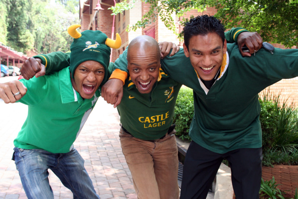 Supporters of the Springboks, South Africa's national rugby team