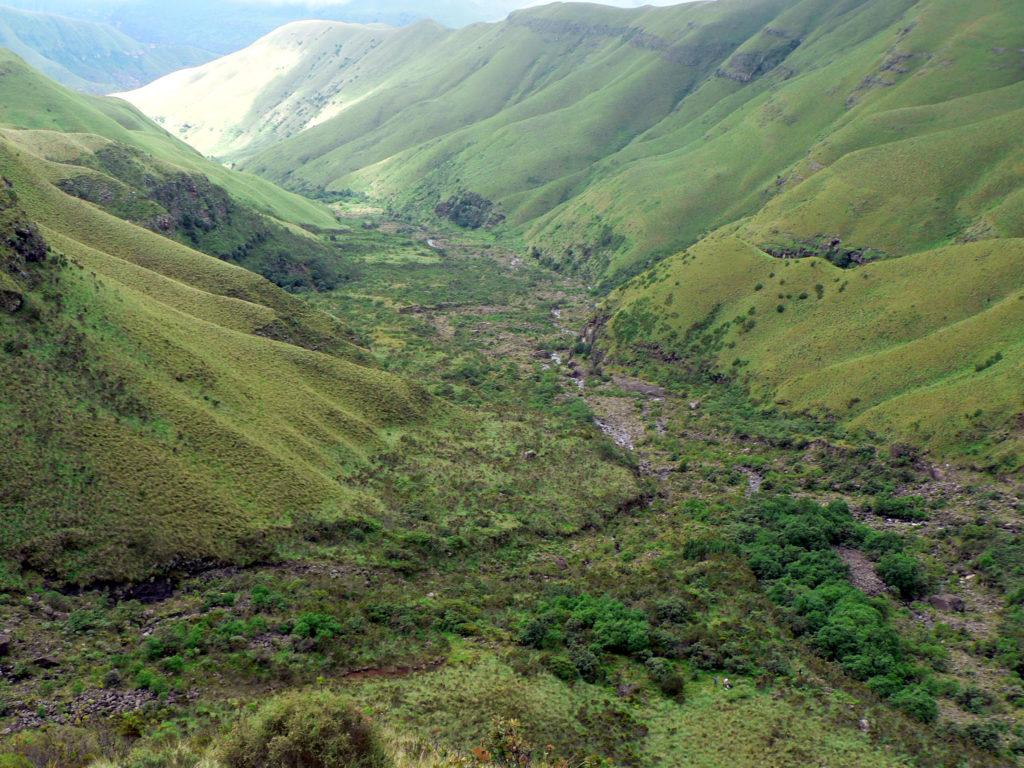 Drakensberg, KwaZulu-Natal: A view into the Injasuthi Nature Reserve
