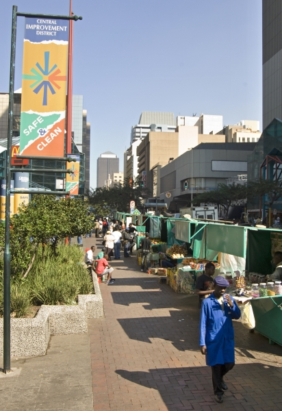 Johannesburg, Gauteng province: Informal traders' stalls in the city centre