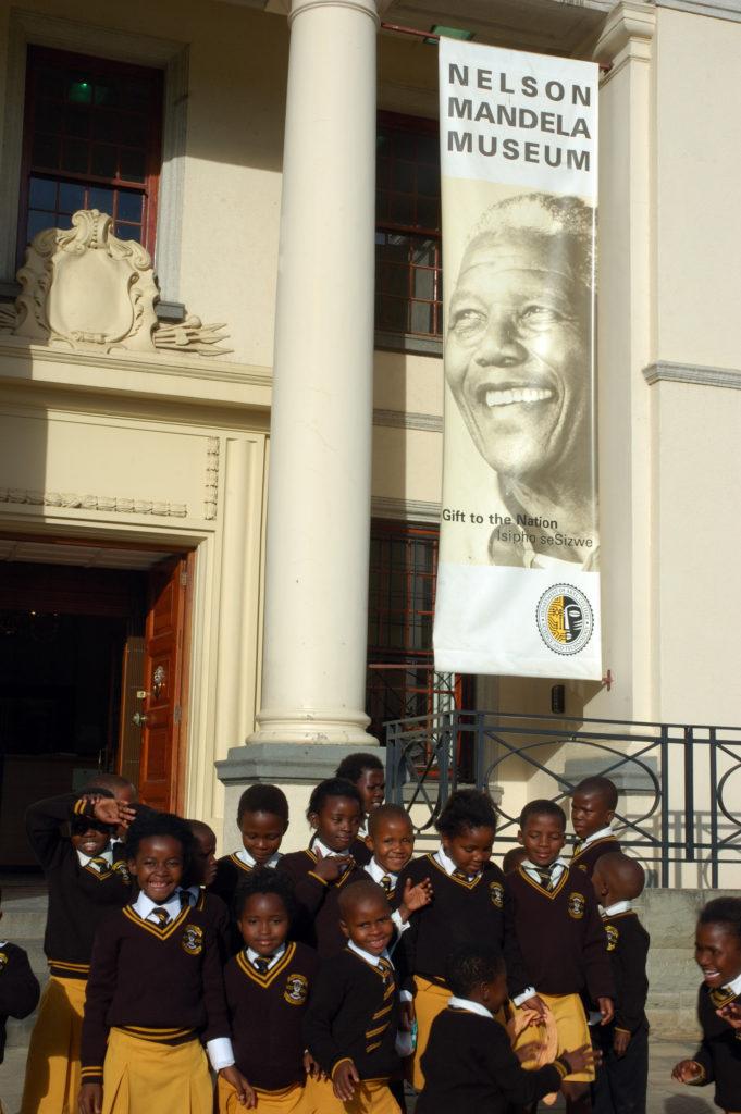Schoolchildren outside the Nelson Mandela Museum