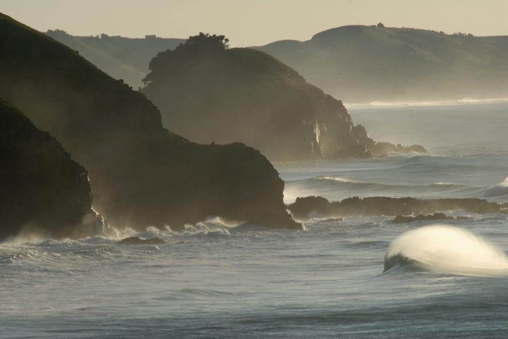 Eastern Cape: The waves break into the coastline near Coffee Bay