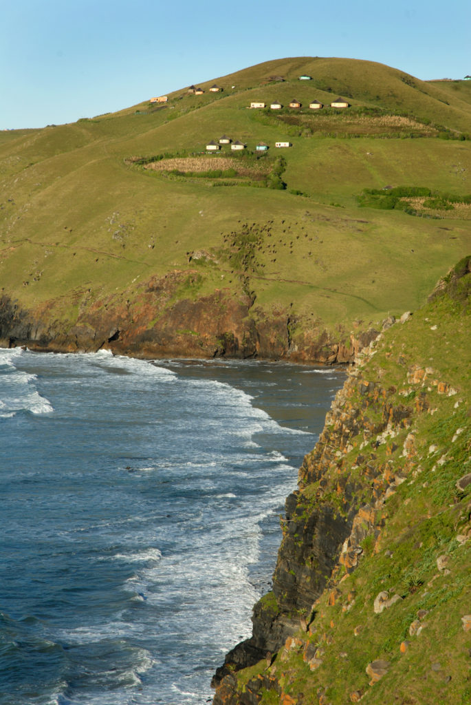 Eastern Cape province: Rural homesteads on the cliffs above the sea