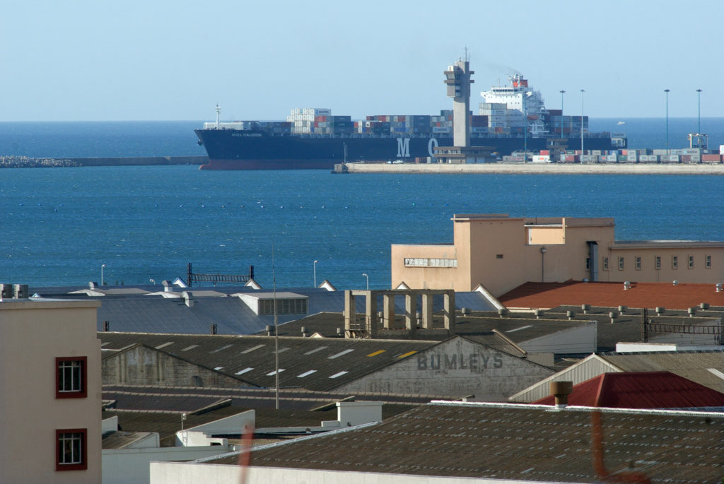 Port Elizabeth, Eastern Cape: A container ship leaves the harbour