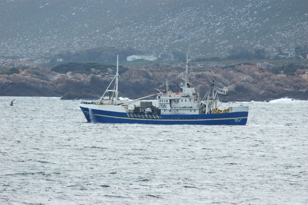 Cape Town, Western Cape province: A fishing boat in Pringle Bay
