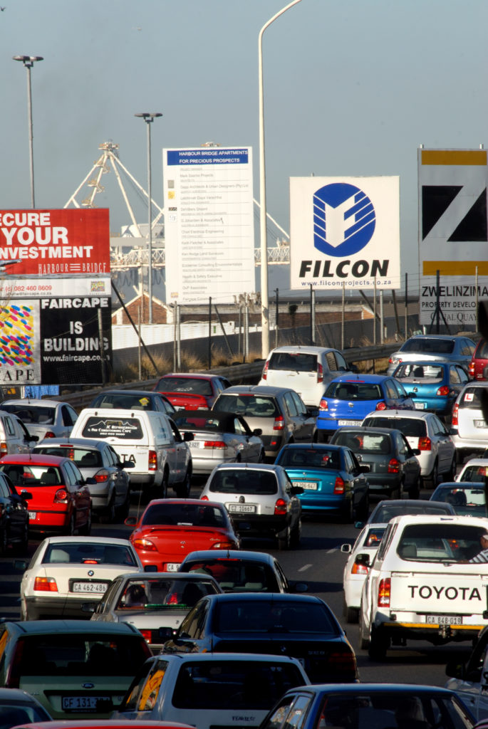 Cape Town, Western Cape province: Traffic moves past new construction developments