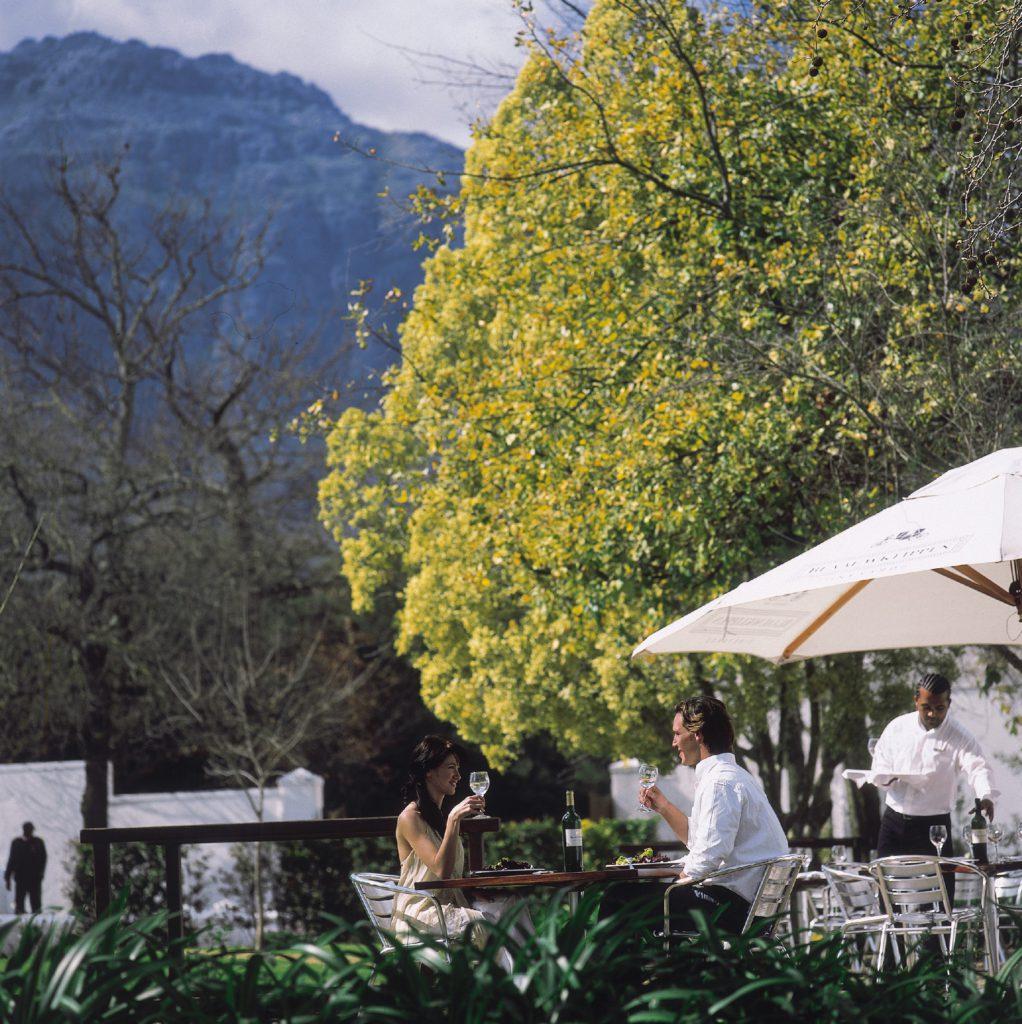 An outdoor restaurant at Blaauwklippen Wine Estate