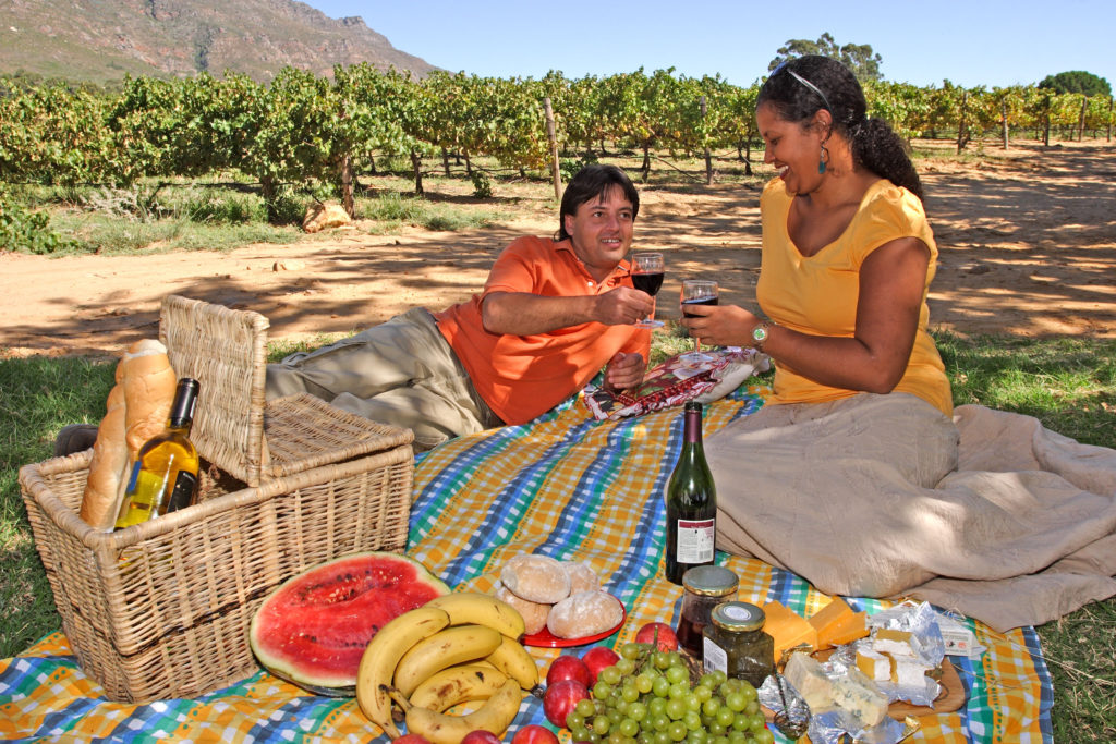 A couple enjoy a picnic in the vineyards of Riebeek Valley, in the Swartland region