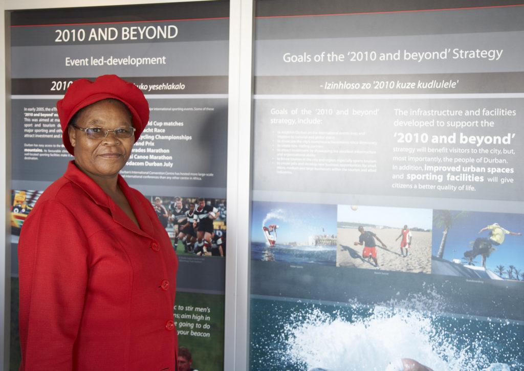 Florina Maphalala, visitors' centre  guide, Moses Mabhida Stadium, Durban, KwaZulu-Natal