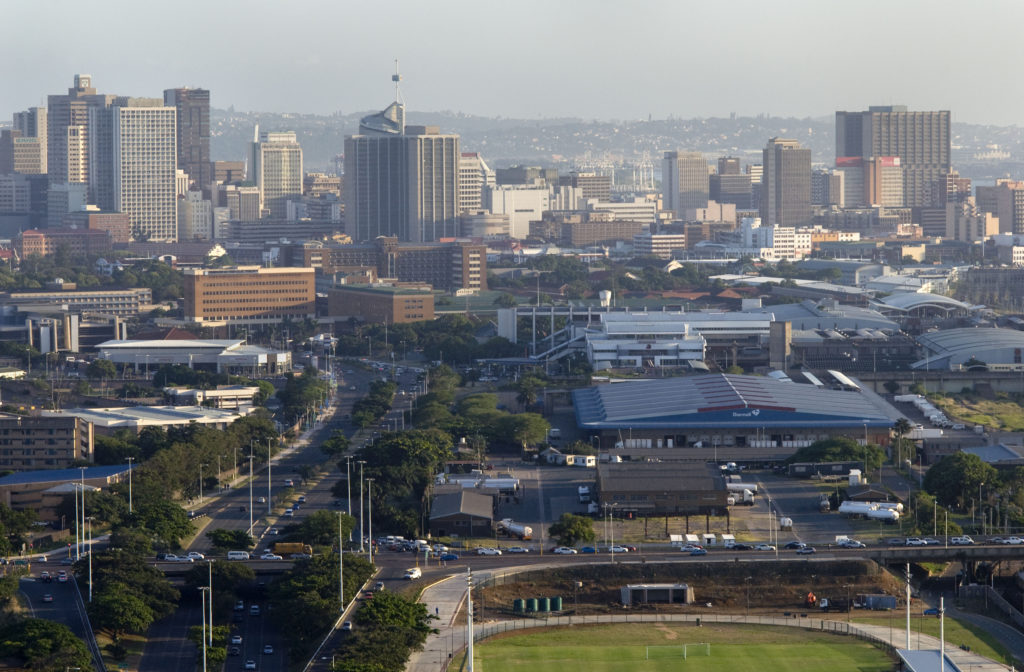 View of Durban from the top of the arch, Moses Mabhida Stadium, KwaZulu-Natal