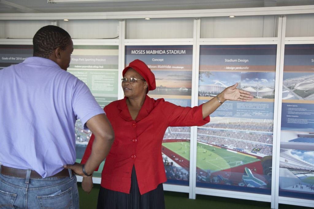 Florina Maphalala is a guide at the Moses Mabhida Stadium visitors' centre ,KwaZulu-Natal