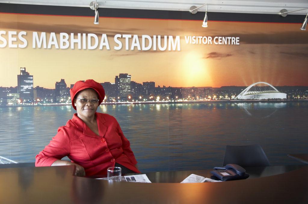 Florina Maphalala is a guide at the Moses Mabhida Stadium visitors' centre, KwaZulu-Natal
