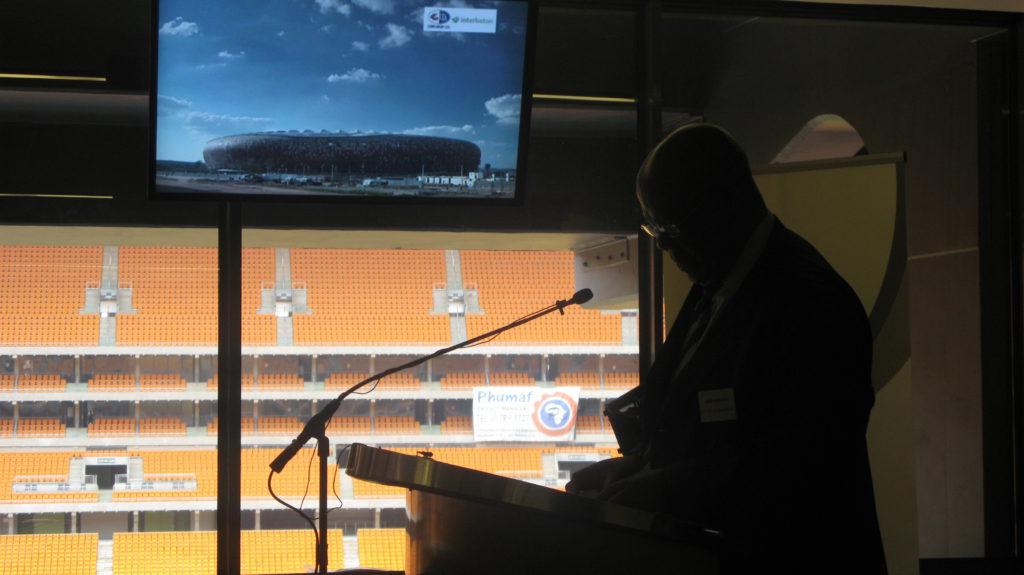 Amos Masondo, executive mayor of the City of Johannesburg, addressing the media at Soccer City