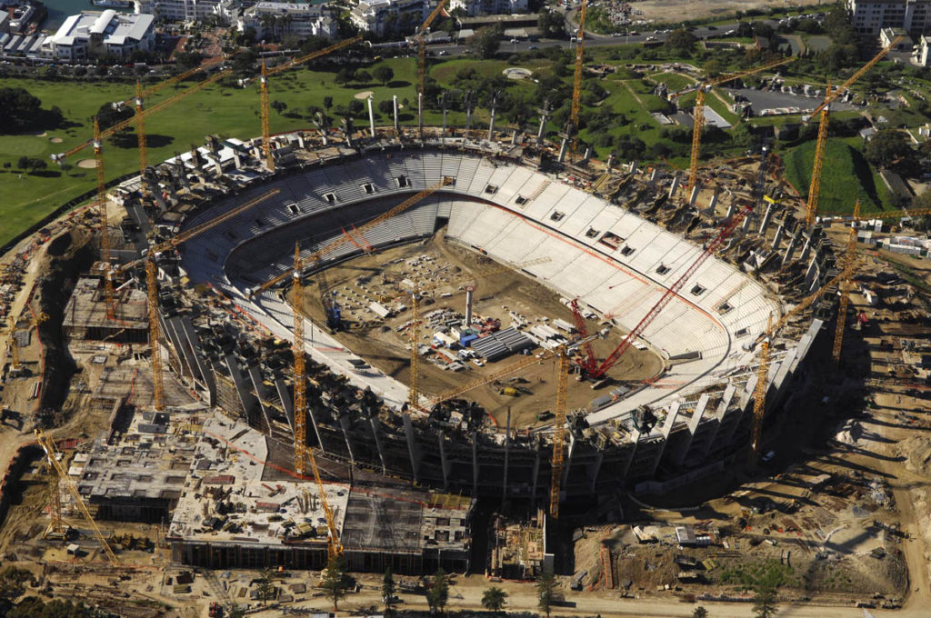 Cape Town Stadium under construction in April 2008