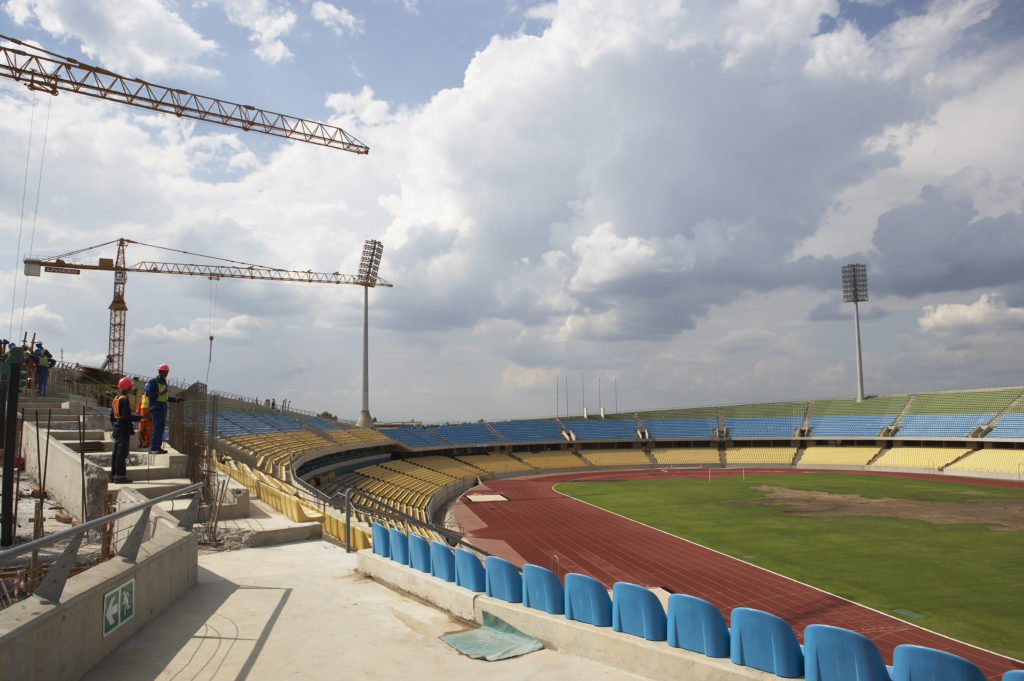 Royal Bafokeng Stadium under construction in March 2008