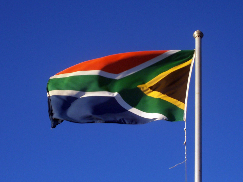 Cape Town, Western Cape province: The South African flag flies on Robben Island