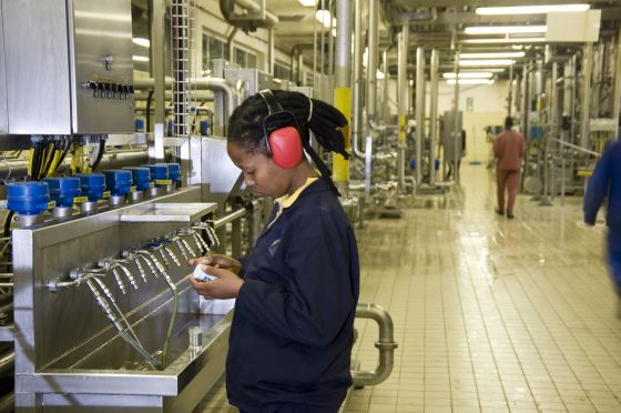 Johannesburg, Gauteng province: Pre-brew plant at South African Breweries' Alrode brewery