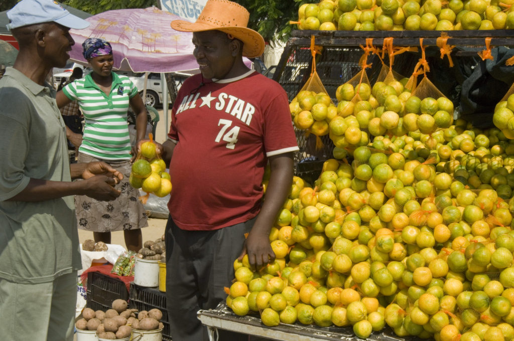 Hoedspruit, Limpopo province: Hawkers at an informal roadside market
