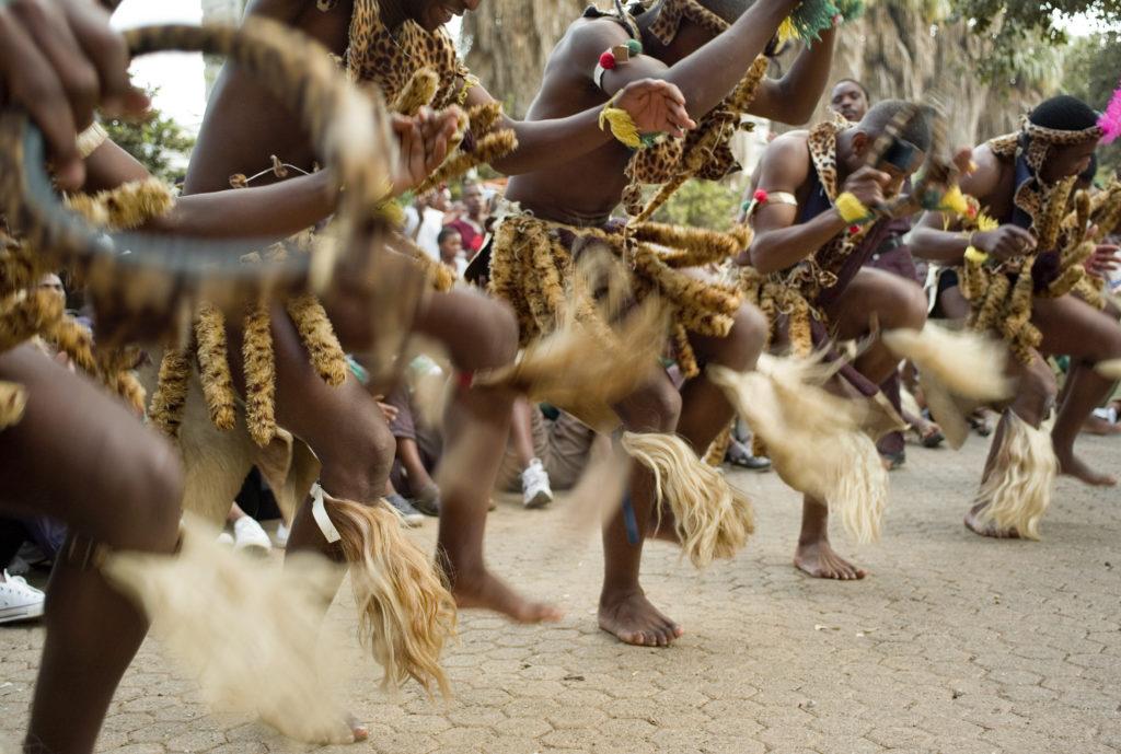 Johannesburg, Gauteng: Dance group competing in a cultural dance festival