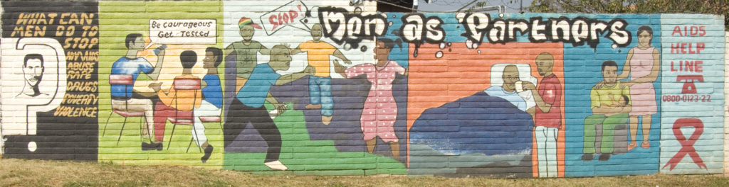 Johannesburg, Gauteng: A mural on HIV/Aids and woman abuse, Soweto