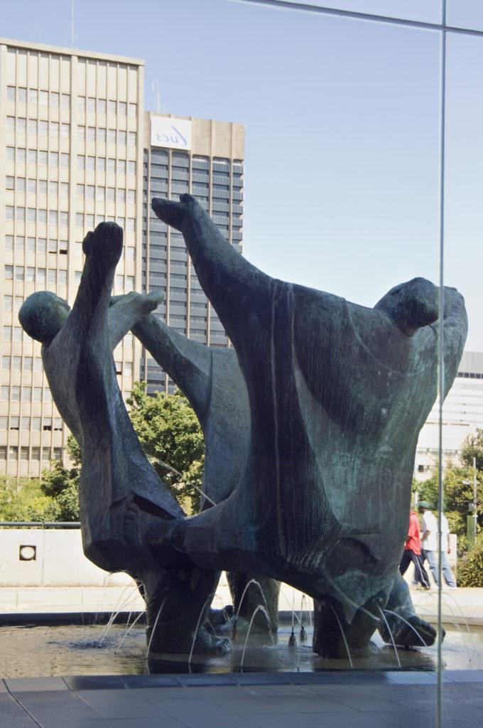 Johannesburg, Gauteng province: The Playmakers , a sculpture by Ernest Ullman