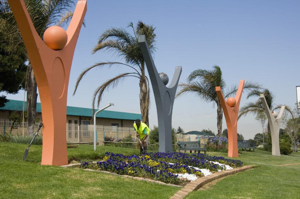 Johannesburg, Gauteng province: A public garden at the entrance to Soweto